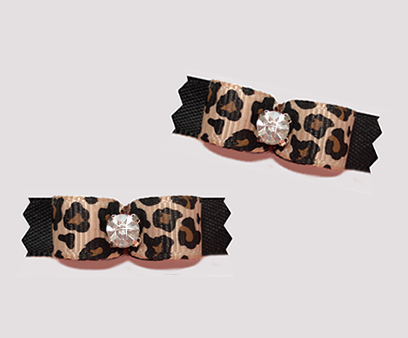 "#T9099 - 3/8"" Dog Bow - Leopard Print on Classic Black, Bling"