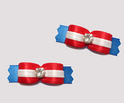 "#T9102 - 3/8"" Dog Bow - Classic Red, White & Blue, Rhinestone"
