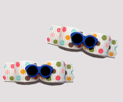 "#T9105 - 3/8"" Dog Bow - Cool Blue Shades, Multi Color Dots"