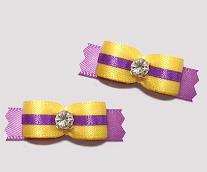 "#T9113 - 3/8"" Dog Bow - Gorgeous Yellow and Orchid, Rhinestone"