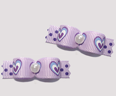 "#T9114 - 3/8"" Dog Bow - Lovely Lavender Hearts, Faux Pearl"