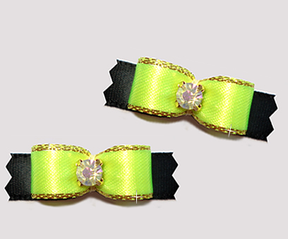 "#T9116- 3/8"" Dog Bow- Vibrant Neon w/ Gold on Black, Rhinestone"