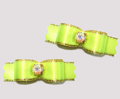 "#T9117 - 3/8"" Dog Bow - Vibrant Neon with Gold, Rhinestone"