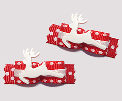"#T9119 - 3/8"" Dog Bow - Classic Winter Reindeer, Red/White"