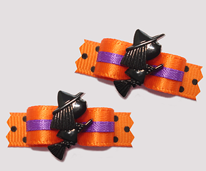 "#T9120 - 3/8"" Dog Bow - Delightful Halloween Witch"