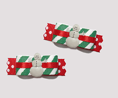 "#T9124 - 3/8"" Dog Bow - Candy Cane Stripes 'n Sprinkles, Snowman"