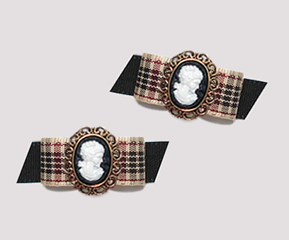 "#T9127 - 3/8"" Dog Bow - Designer Plaid on Black, Victorian Cameo"