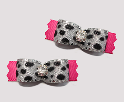 "#T9133 - 3/8"" Dog Bow - Silver Sparkle Leopard Print, Hot Pink"
