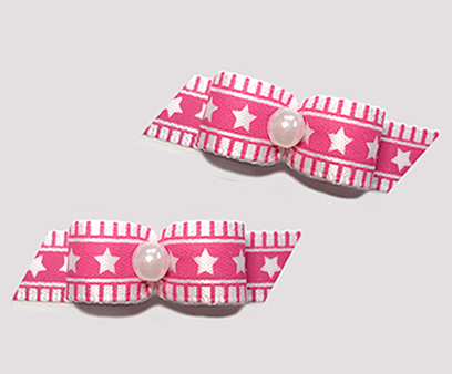 "#T9134 - 3/8"" Dog Bow - Pretty Pink Stars 'n Stripes"