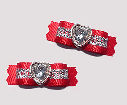 "#T9136 - 3/8"" Dog Bow - Gorgeous Classic Red Satin, Bling Heart"