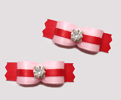 "#T9137 - 3/8"" Dog Bow - Pretty Pink and Red, Rhinestone"
