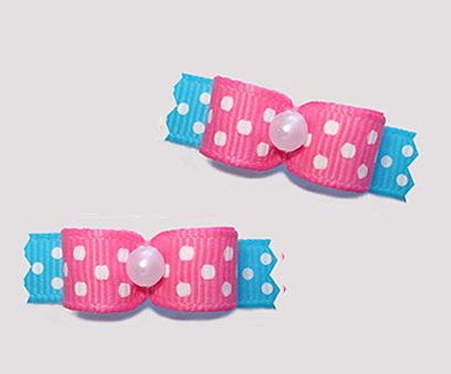 "#T9141 - 3/8"" Dog Bow - Delightful Dots, Pink/Blue"