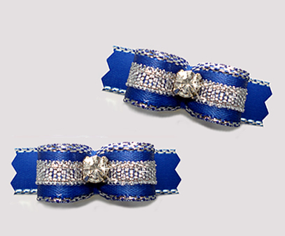"#T9150 - 3/8"" Dog Bow - Blue/Sparkly Silver, Rhinestone"