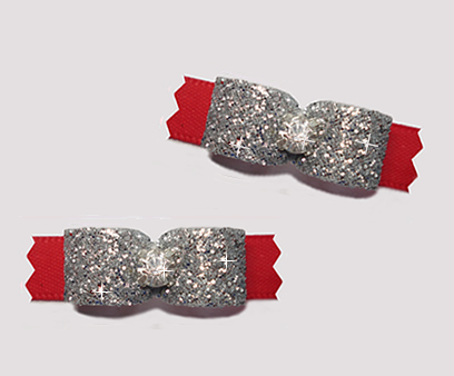 "#T9152- 3/8"" Dog Bow- Gorgeous Glitter, Classic Glam, Silver/Red"