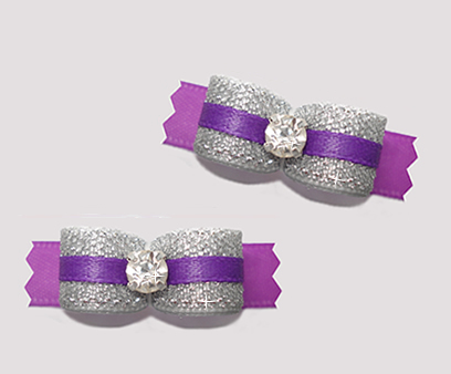 "#T9154 - 3/8"" Dog Bow - Sparkly Silver & Purple, Rhinestone"