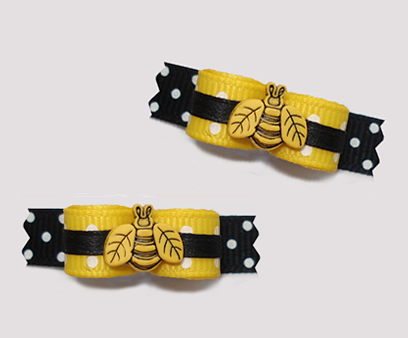 "#T9156 - 3/8"" Dog Bow - Cute Little Buzzy Bee, Yellow/Black"