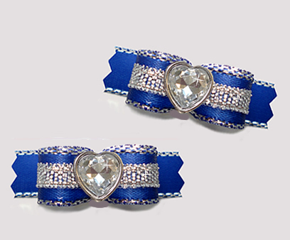 "#T9158 - 3/8"" Dog Bow- Gorgeous Blue/Sparkly Silver, Bling Heart"