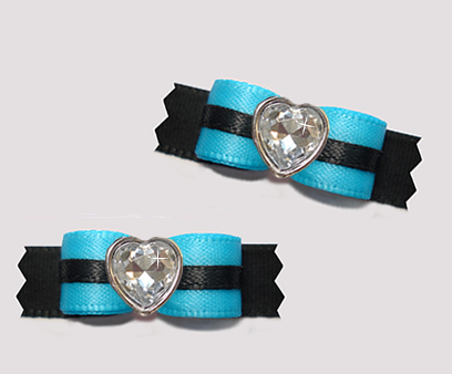 "#T9160 - 3/8"" Dog Bow - Electric Blue and Black, Bling Heart"