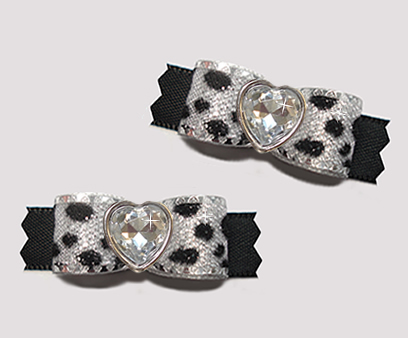 "#T9163 - 3/8"" Dog Bow - Silver Sparkle Leopard & Black, Heart"