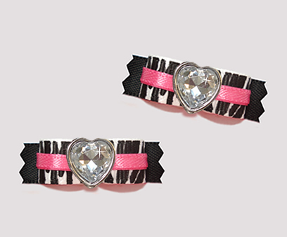 "#T9168 - 3/8"" Dog Bow- Zowie Zebra, Hot Pink Accent, Bling Heart"