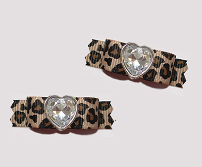 "#T9169 - 3/8"" Dog Bow - Gorgeous Leopard Print with Bling Heart"