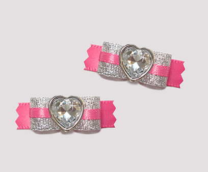 "#T9171- 3/8"" Dog Bow- Party Pink, Sparkly Silver/Hot Pink, Heart"