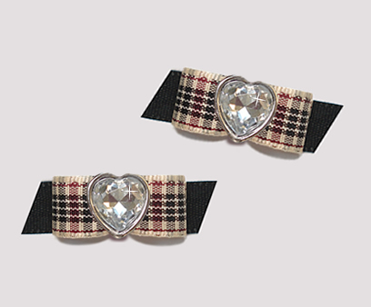 "#T9175 - 3/8"" Dog Bow - Designer Plaid on Black, Bling Heart"