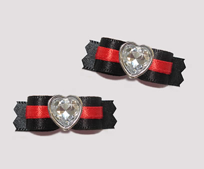 "#T9176 - 3/8"" Dog Bow - Classic Black with Red Lining, Heart"