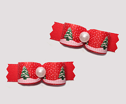 "#T9179 - 3/8"" Dog Bow - Holiday Trees with Sprinkle of Snow, Red"