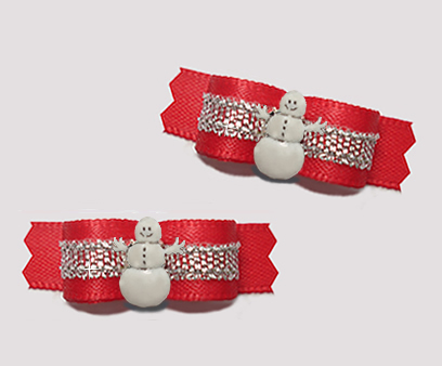 "#T9180 - 3/8"" Dog Bow - Classic Red/Sparkly Silver, Snowman"