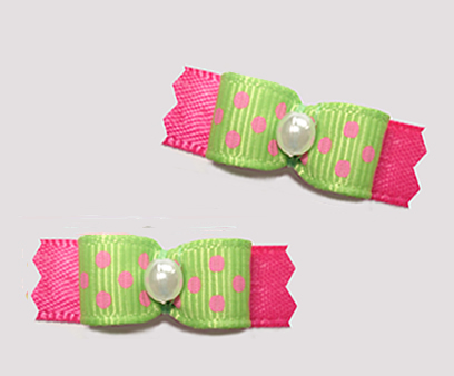 "#T9184 - 3/8"" Dog Bow - Adorable Dots, Green with Pink"