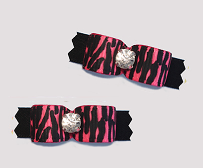 "#T9190 - 3/8"" Dog Bow - Pink Zebra Print on Black, Rhinestone"