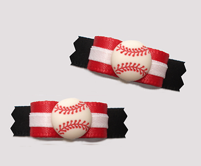 "#T9193 - 3/8"" Dog Bow - Sporty Baseball, Red/White/Black"