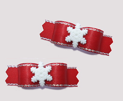 "#T9197 - 3/8"" Dog Bow - Winter Red with Sparkle, Tiny Snowflake"