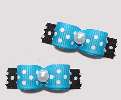 "#T9208 - 3/8"" Dog Bow - Delightful Dots, Bright Blue/Black"