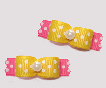 "#T9210 - 3/8"" Dog Bow - Delightful Dots, Daffodil Yellow/Pink"