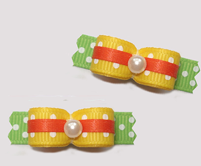 "#T9212 - 3/8"" Dog Bow - Summer Brights, Yellow/Green/Orange"