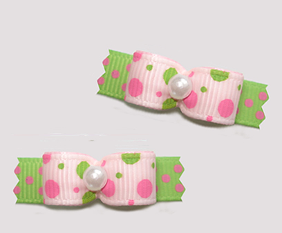 "#T9219 - 3/8"" Dog Bow - Bubble Dots, Pink/Lime"