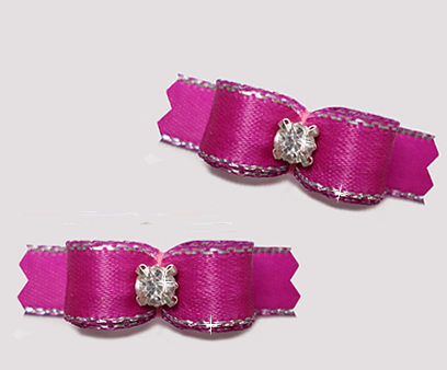 "#T9222 - 3/8"" Dog Bow - Rich Orchid, Silver Edge, Rhinestone"