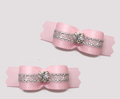 "#T9223 - 3/8"" Dog Bow - Baby Pink/Sparkly Silver, Rhinestone"