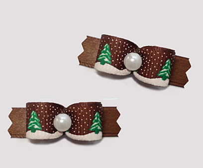 "#T9238 - 3/8"" Dog Bow - Holiday Trees w/ Sprinkle of Snow, Brown"