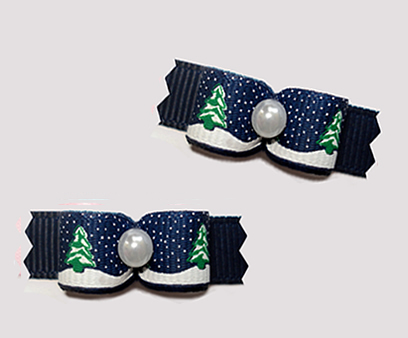 "#T9239 - 3/8"" Dog Bow - Holiday Trees w/ Sprinkle of Snow, Navy"
