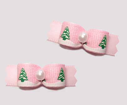 "#T9241 - 3/8"" Dog Bow - Holiday Trees w/ Sprinkle of Snow, Pink"