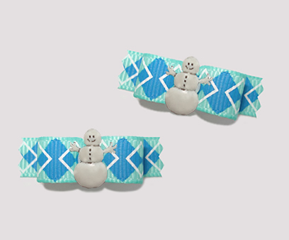 "#T9246 - 3/8"" Dog Bow - Crisp Blue Argyle, Happy Snowman"