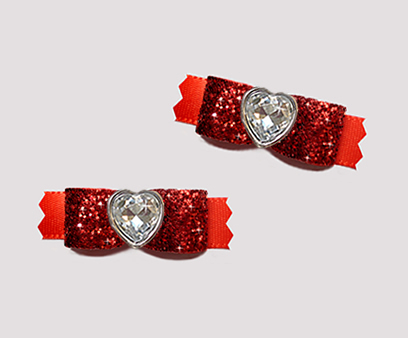 "#T9252 - 3/8"" Dog Bow - Gorgeous Glitter, Classic Red, Heart"