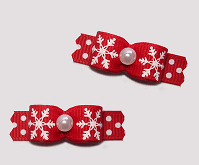 "#T9253 - 3/8"" Dog Bow - A Sprinkle of Snow, Red/White"