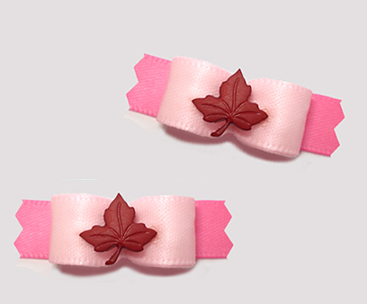 "#T9256 - 3/8"" Dog Bow - Pretty Pinks with Crimson Maple Leaf"