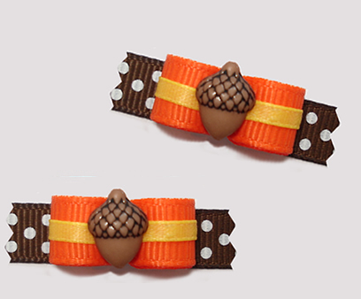 "#T9257 - 3/8"" Dog Bow - Absolutely Adorable Acorn, Orange/Brown"