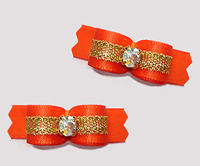 "#T9261 - 3/8"" Dog Bow - Vibrant Orange/Sparkly Gold, Rhinestone"