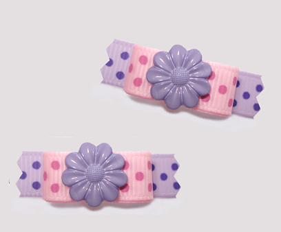 "#T9263- 3/8"" Dog Bow - Flower Power, Pretty Pink/Lavender w/Dots"